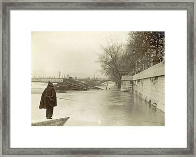 Flooded Seine Banks, Destroyed Bridges And An Angler Framed Print