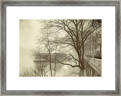 Flooded Seine River With Trees, Boats And Public Framed Print