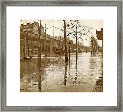 Flooded Street In A Flyover During The Flooding Of Paris Framed Print