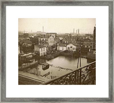 Flooded Suburb Of Paris Seen From A Window Framed Print by Artokoloro