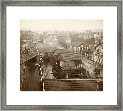 Flooding Paris Suburbs In 1910, France Framed Print