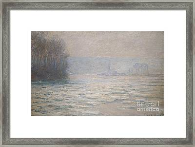 Floods On The Seine Near Bennecourt Framed Print