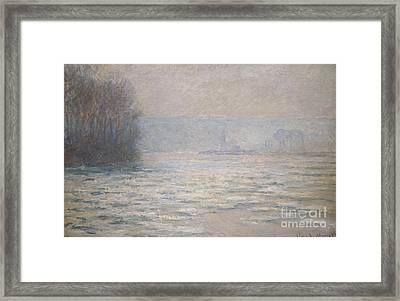 Floods On The Seine Near Bennecourt Framed Print by Claude Monet