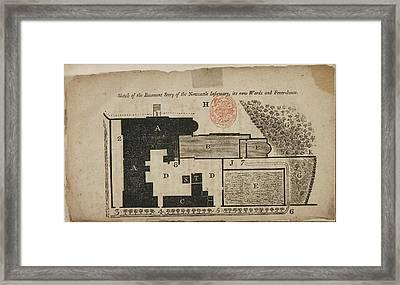 Floor Plan Of Newcastle Hospital Basement Framed Print by British Library