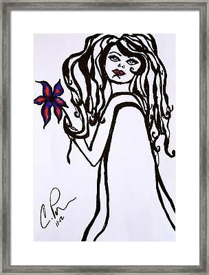 Flor De Amber Framed Print by Chrissy  Pena