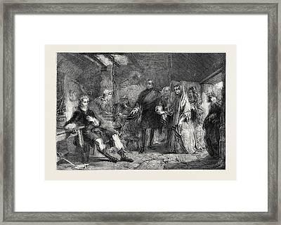 Flora Macdonald Introduced To Prince Charles Edward Framed Print by Alexander Johnston (1815-1891), Scottish