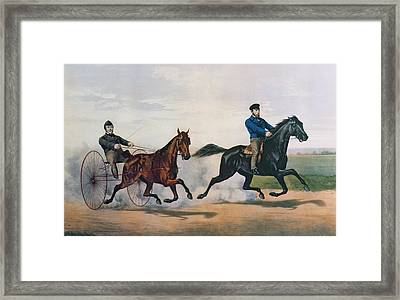Flora Temple And Lancet Racing On The Centreville Course Framed Print by Currier and Ives