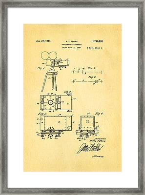 Flora Zoom Cinema Camera Patent Art 1931 Framed Print