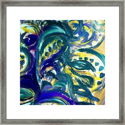 Floral Abstract Dancing Leaves Framed Print by Irina Sztukowski