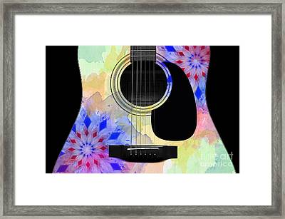 Floral Abstract Guitar 11 Framed Print