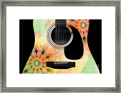 Floral Abstract Guitar 13 Framed Print by Andee Design