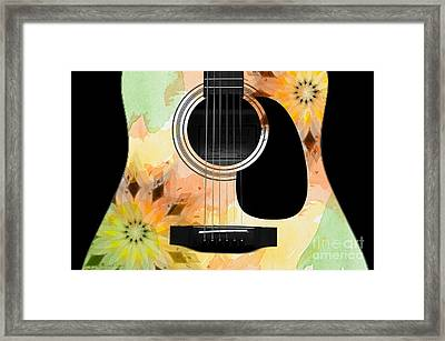 Floral Abstract Guitar 14 Framed Print
