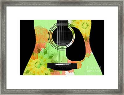 Floral Abstract Guitar 15 Framed Print