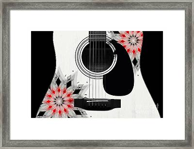 Floral Abstract Guitar 2 Framed Print