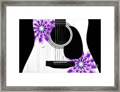 Floral Abstract Guitar 30 Framed Print