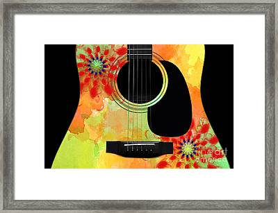 Floral Abstract Guitar 34 Framed Print