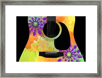 Floral Abstract Guitar 35 Framed Print