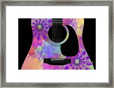Floral Abstract Guitar 36 Framed Print