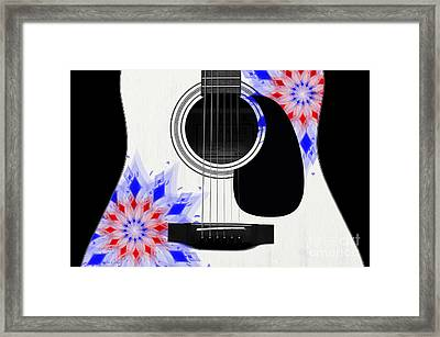 Floral Abstract Guitar 4 Framed Print
