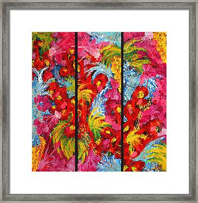 Floral Abstract Triptych On Black Background Framed Print