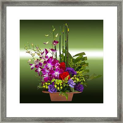 Floral Arrangement - Green Framed Print by Chuck Staley