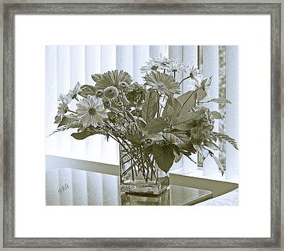 Floral Arrangement With Blinds Reflection Framed Print by Ben and Raisa Gertsberg