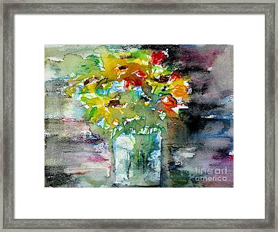 Floral Bouquet In Water Glass Framed Print by Almo M
