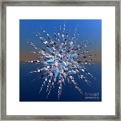 Floral Bouquet Of Silver And Blue Framed Print