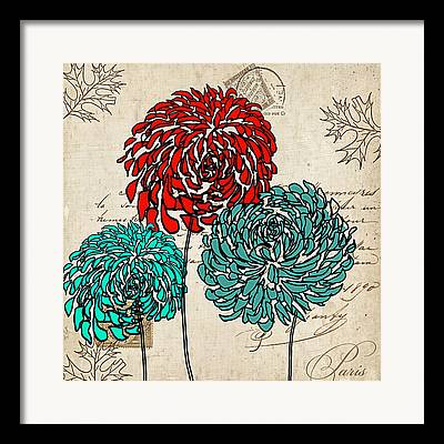 Turquoise And Red Framed Prints