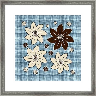 Floral Design On Blue Framed Print by Gaspar Avila