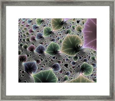 Floral Fractal Artwork Green Blue Pink Digital Leaves Framed Print by Matthias Hauser