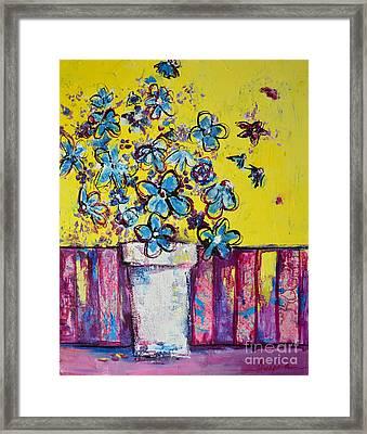 Floral Still Life Blue Hues Framed Print by Patricia Awapara
