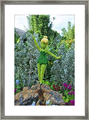Floral Tinker Bell Framed Print by Thomas Woolworth