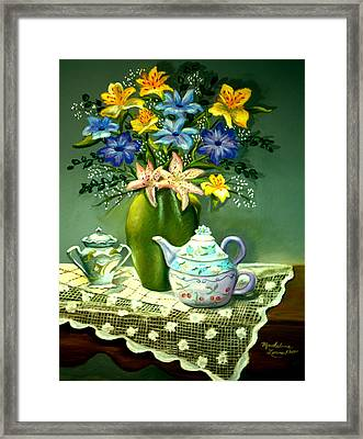 Floral With Lace Tablecloth Framed Print