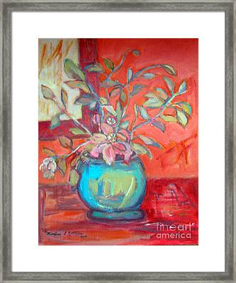 Floral With Orange Background Framed Print by Marlene Robbins