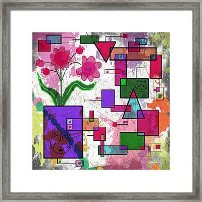 Florals And Pussycats Too Framed Print by Jan Steadman-Jackson