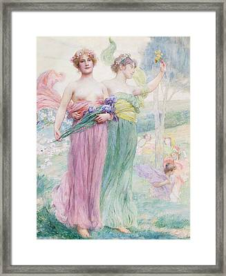Floreal Framed Print by Henry Siddons Mowbray