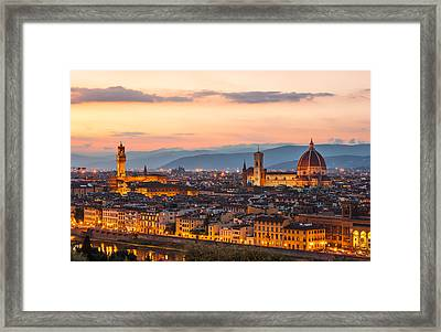 Florence At Dusk Framed Print by Gurgen Bakhshetsyan