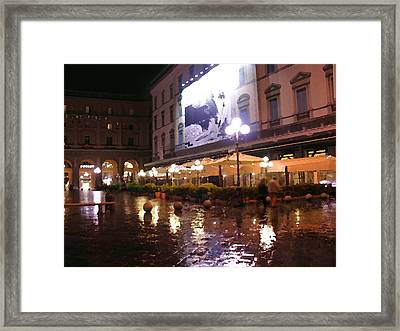 Florence Cafes Abstract Framed Print by Jacqueline M Lewis
