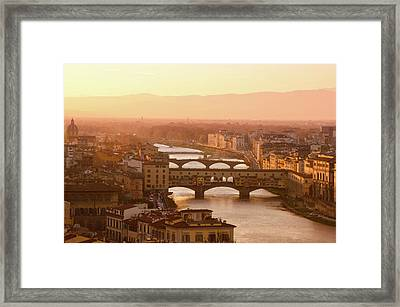 Florence City During Golden Sunset Framed Print by Dragos Cosmin Photos
