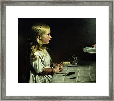 Florence Cope Saying Grace At Dinnertime Framed Print by Charles West Cope