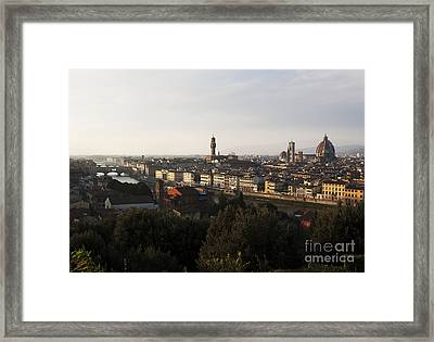 Framed Print featuring the photograph Florence Form The Piazza Michalengelo by Belinda Greb