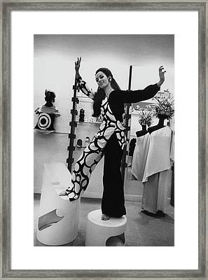 Florence Grinda In Simonetta Paris Boutique Framed Print by Arnaud de Rosnay
