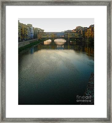 Florence Italy - Ponte Vecchio - Sun Rise Framed Print by Gregory Dyer