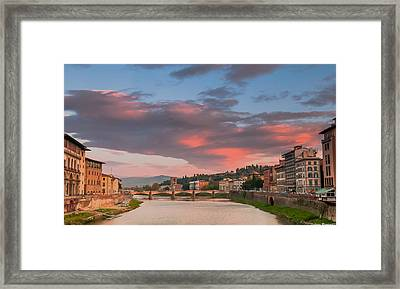 Framed Print featuring the photograph Florence Italy Sunset by Avian Resources