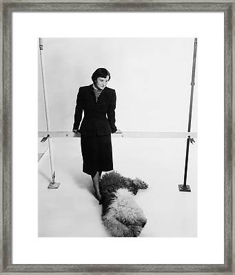 Florence Knoll And Her Dog Framed Print