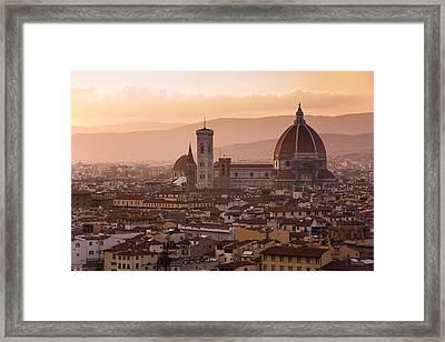 Florence Skyline At Sunset Framed Print by Francesco Emanuele Carucci