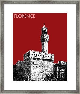 Florence Skyline Palazzo Vecchio - Dark Red Framed Print by DB Artist