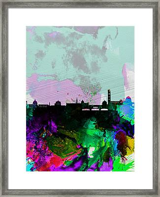 Florence Watercolor Skyline Framed Print by Naxart Studio