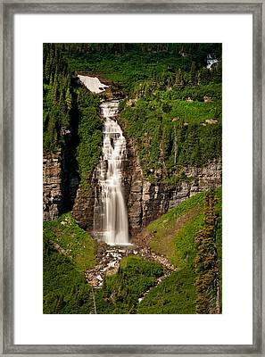 Florence Waterfalls Offers A Dramatic Scene From Going To The Sun Highway Framed Print by Mark Serfass
